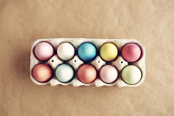 Picture of full painted egg box - Stock Photo - Images
