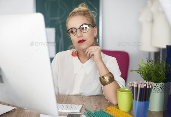 Tranquil scene of absent busy woman - Stock Photo - Images