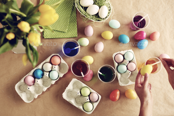 Homemade modern dyeing Easter eggs - Stock Photo - Images