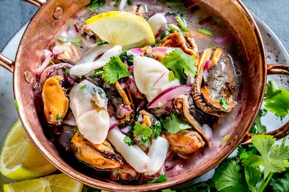 Peruvian Latin American seafood shellfish ceviche cebiche. - Stock Photo - Images