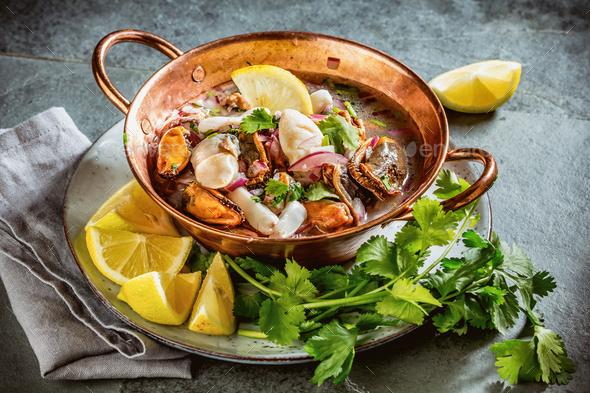 Peruvian Latin American seafood shellfish ceviche - Stock Photo - Images