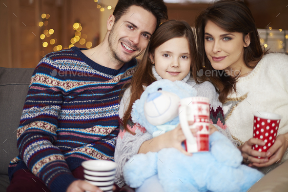 Portrait of family while winter vacations - Stock Photo - Images
