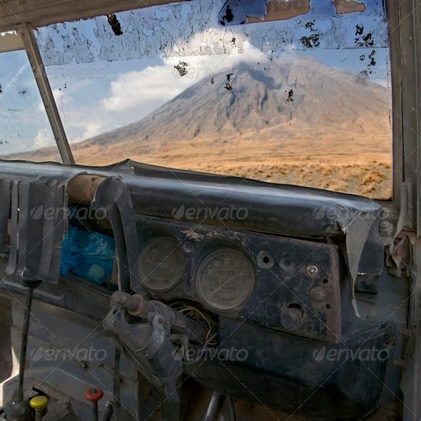 Tanzania volcano, old abandoned car, Ol Doinyo Lengai, Tanzania - Stock Photo - Images