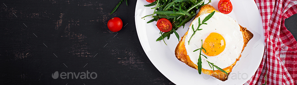 Breakfast. French cuisine. Croque madame sandwich close up on th - Stock Photo - Images