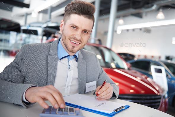 Salesman doing his daily duties - Stock Photo - Images