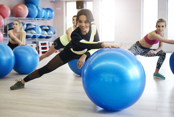 Women exercising with fitness ball - Stock Photo - Images