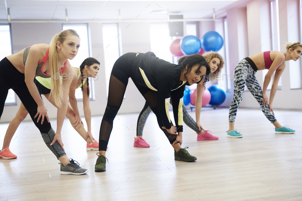 Group of women working out in exercise class - Stock Photo - Images