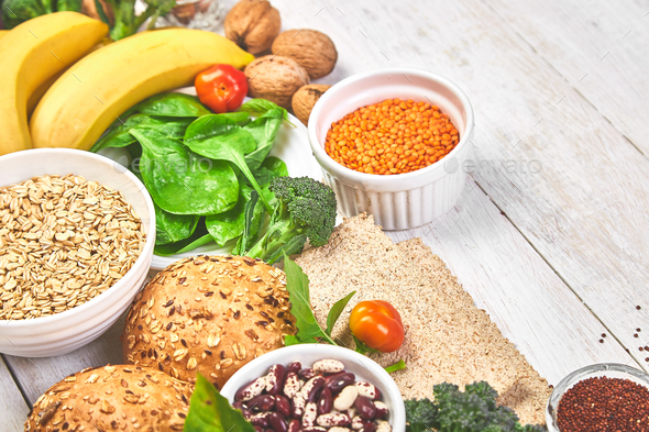 Set of high dietary fibre health food product concept - Stock Photo - Images