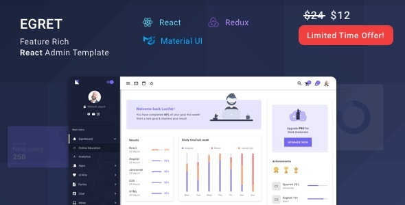 Egret - React Redux Material Design Admin Dashboard Template
