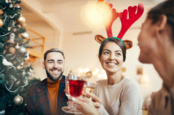 Group of People Enjoying Christmas Party - Stock Photo - Images