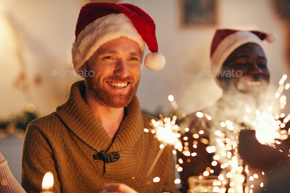 Adult Man Enjoying Christmas Celebration - Stock Photo - Images