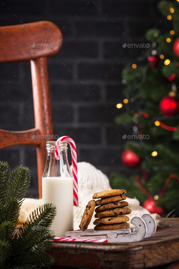 Cookies with chocolate and milk - Stock Photo - Images
