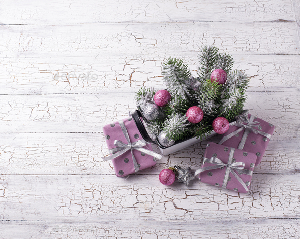 Christmas composition with pink decor - Stock Photo - Images