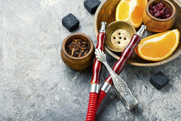 Orange hookah tobacco - Stock Photo - Images