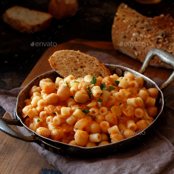 Ditalini pasta with chickpeas - Stock Photo - Images