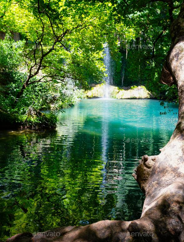 Kursunlu Waterfall in a nature park - Stock Photo - Images