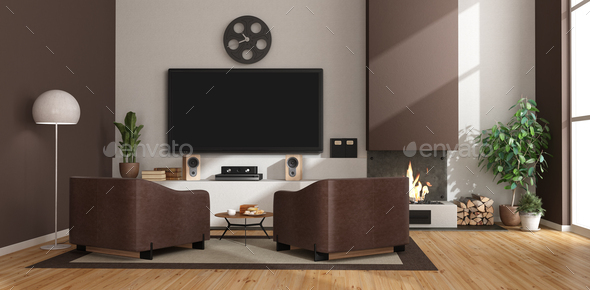 Modern living room with fireplace,armchairs and tv set - Stock Photo - Images