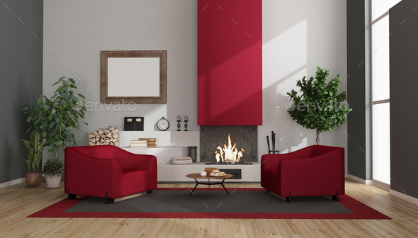 Modern living room with fireplace and armchairs - Stock Photo - Images