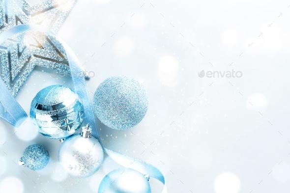 Blue Christmas Flat Lay Background - Stock Photo - Images