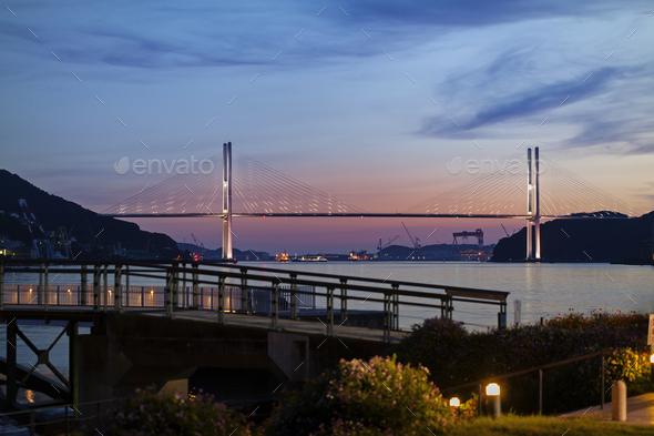 View of Megami Ohashi bridge from Nagasaki Seaside Park - Stock Photo - Images