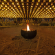 Burning candle in Burner pot with and incense sticks in japanese cave temple. - PhotoDune Item for Sale