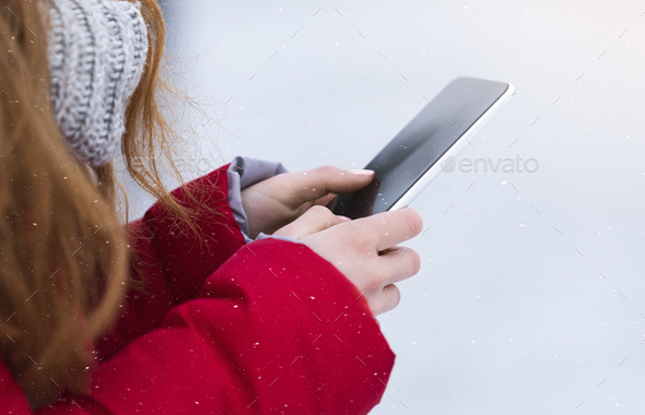 Close up of girl hands using modern smartphone - Stock Photo - Images