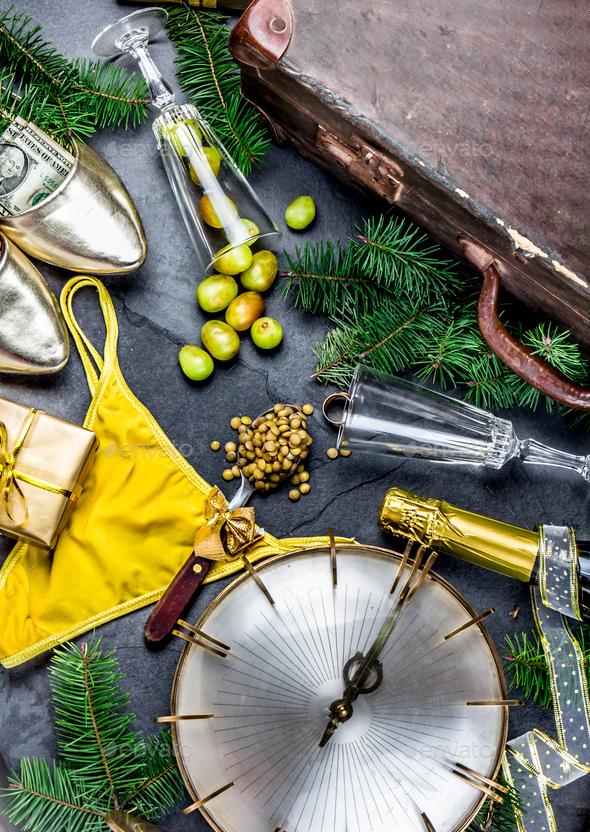 Hispanic New year eve traditions - Stock Photo - Images