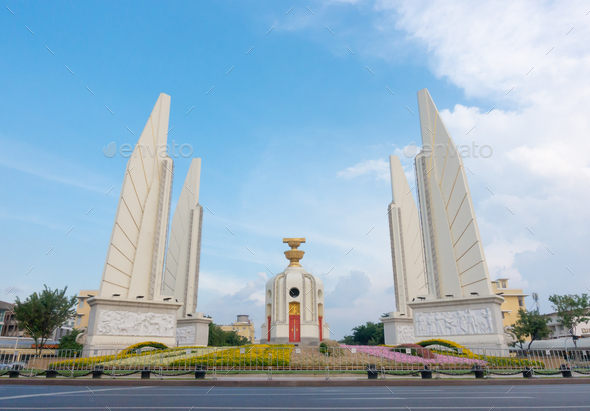 Democracy monument with blue sky in Bangkok, Thailand - Stock Photo - Images