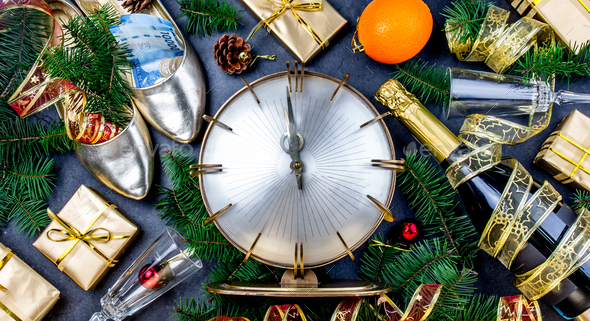 NEW YEAR CELEBRATION. Traditional put money to shoe for have money en New Year. - Stock Photo - Images