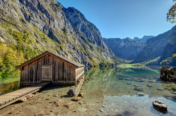 The Obersee in the Bavarian Alp - Stock Photo - Images