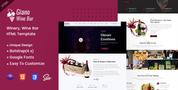 Giano - Winery & Wine Bar HTML Template by EnvyTheme