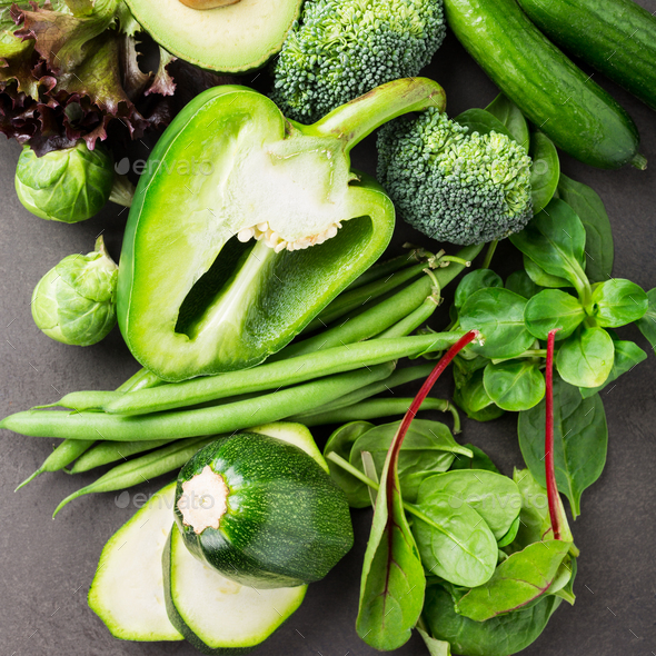 Assorted green vegetables - Stock Photo - Images