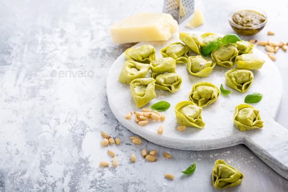 Homemade raw Italian tortelloni - Stock Photo - Images