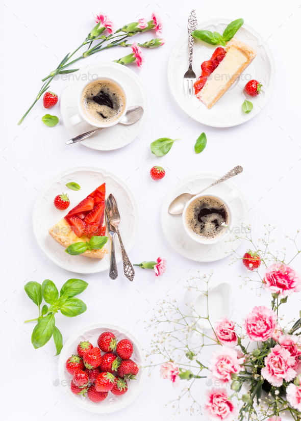 Flatlay with strawberry cheesecake - Stock Photo - Images