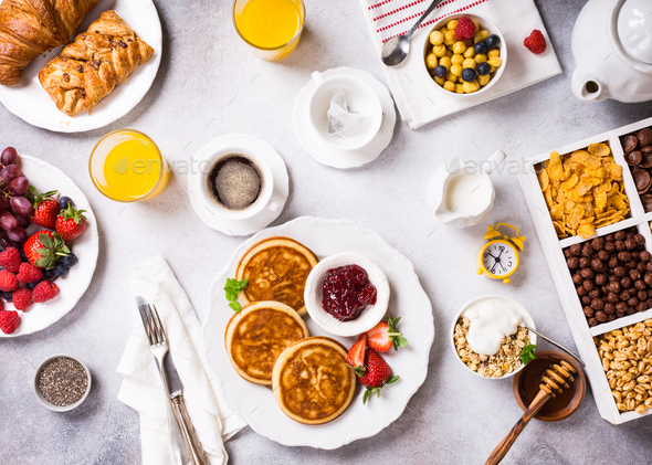 Assorted healthy breakfast - Stock Photo - Images