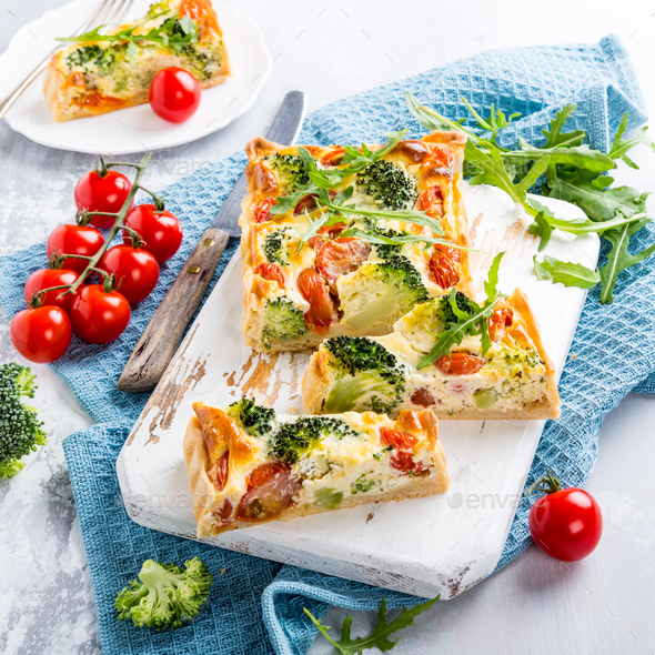 Vegetarian homemade quiche - Stock Photo - Images