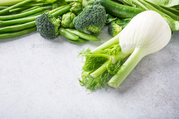 Background with assorted green vegetables - Stock Photo - Images