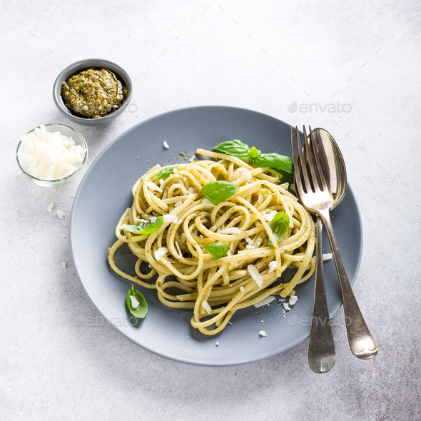 Linguine with green pesto - Stock Photo - Images