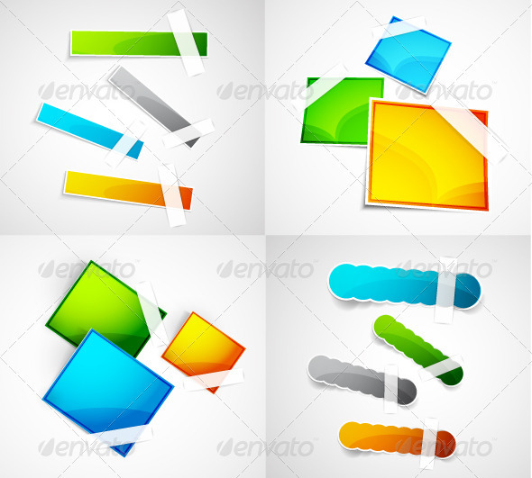 Vector Glossy Stickers Pack - Web Technology