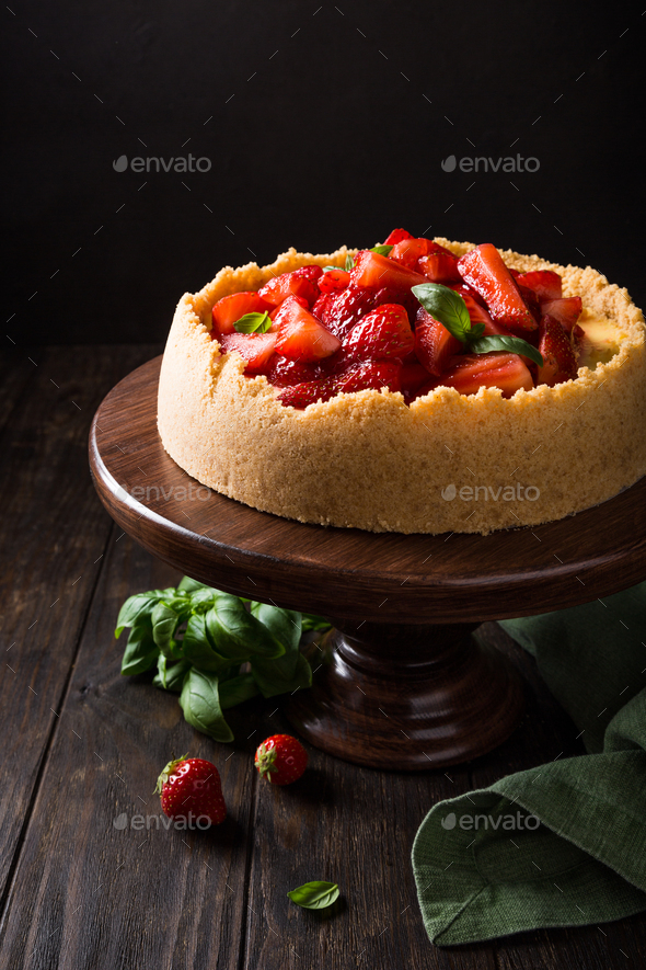 Strawberry cheesecake with basil - Stock Photo - Images