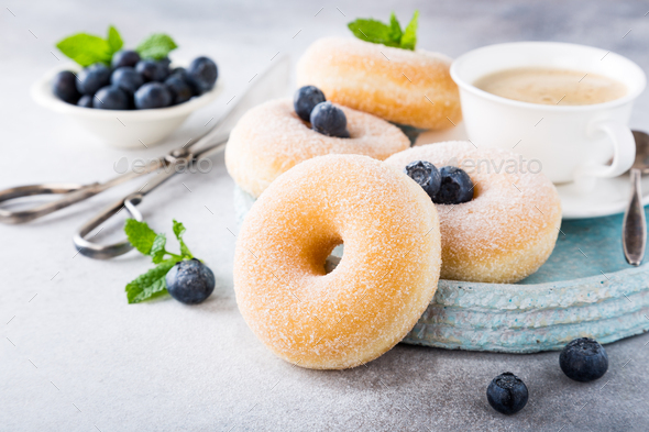 Homemade donuts with sugar - Stock Photo - Images