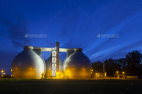 Sewage Plant At Night - Stock Photo - Images