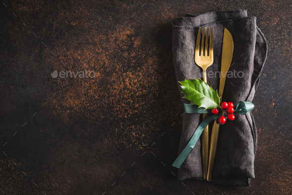Christmas cutlery with napkin - Stock Photo - Images