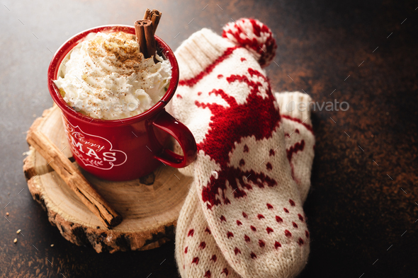 Hot chocolate in cup with whipped cream - Stock Photo - Images