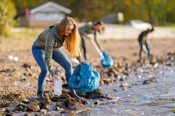 Young volunteers cleaning beach on sunny day - Stock Photo - Images