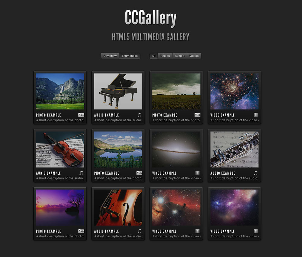 Ccgallery html5 multimedia gallery by cosmocoder for Photo gallery html template free download