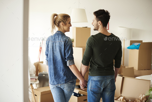 Excited couple starting their new phase - Stock Photo - Images