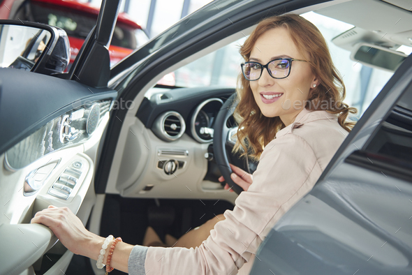 Woman is ready and steady for test drive - Stock Photo - Images