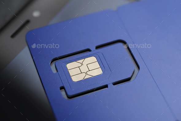 Violet SIM card pre-cut mini, micro, nano sizes and. - Stock Photo - Images