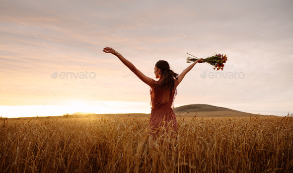 nature; free; freedom; farm; woman; relaxation; strolling; dreamy; sunset; backlit; summer - Stock Photo - Images